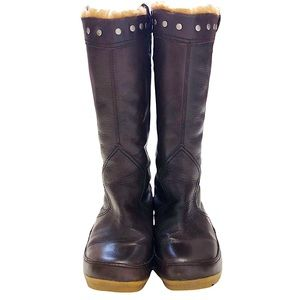 Vagabond Brown Leather Sherpa Lined Boots 38